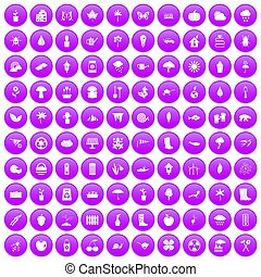 100 garden stuff icons set purple - 100 garden stuff icons...