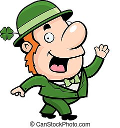 Leprechaun Waving - A happy cartoon Leprechaun waving and...