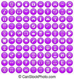 100 gadget icons set purple - 100 gadget icons set in purple...