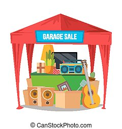 Garage Sale Vector. Sale Items. Preparing A Yard Sale....