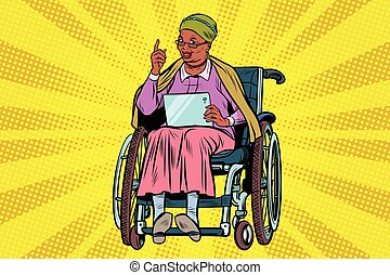 elderly African woman disabled person in a wheelchair,...