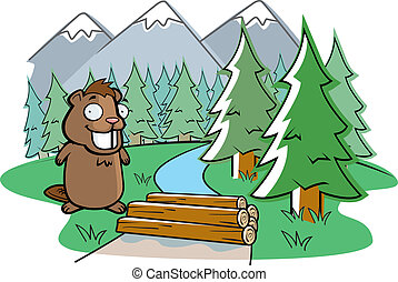 Beaver Dam - A happy cartoon beaver building a dam