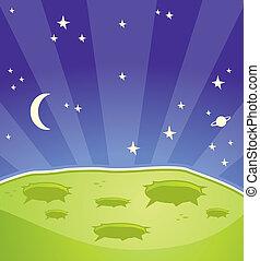 Alien Planet - A cartoon alien planet in outer space.