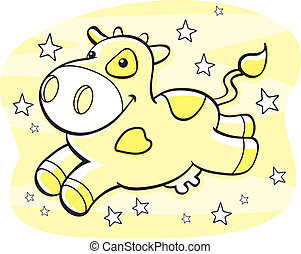Cow Milky Way - A happy cartoon yellow cow in the Milky Way