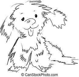 freehand puppy - freehand drawing funny puppy vector
