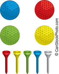 Golf Balls - A variety of different colored golf balls and...