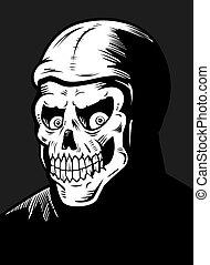 Skeleton Monster - A black and white skeleton monster...