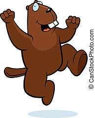 Beaver Jumping - A happy cartoon beaver jumping and smiling