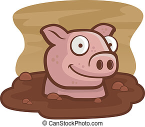 Pig Mud - A happy cartoon pig in the mud.