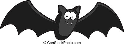Cartoon Bat - A happy cartoon bat flying and smiling