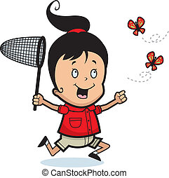 Chasing Butterflies - A happy cartoon girl chasing...