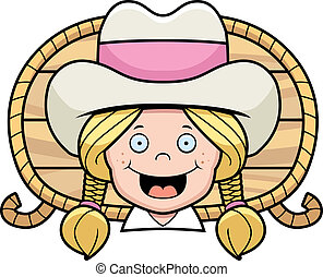 Cowgirl Smiling - A cartoon blond cowgirl happy and smiling