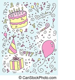 Birthday Doodle - A cartoon doodle with a birthday theme.