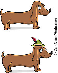 Dachshund Oktoberfest - A happy cartoon Dachshund dog with...