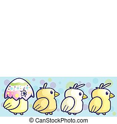 Baby Chicks - A group of cartoon little baby chicks walking.