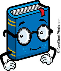 Book Glasses - A happy cartoon blue book wearing glasses.