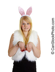 Funny young girl with a pink rabbit ears