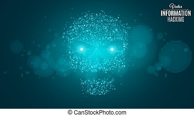 Hacking system and information. Abstract skull of blue color...
