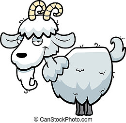 Mountain Goat - A happy cartoon mountain goat standing and...