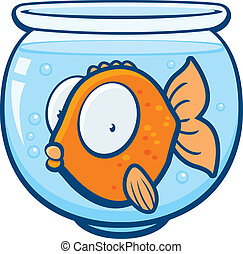 Goldfish Bowl - A cartoon goldfish in a glass bowl