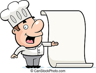 Chef Menu - A happy cartoon chef with a menu.