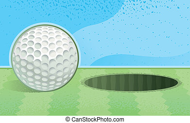 Golf Ball Hole - A white golf ball going into the hole.