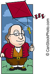 Ben Franklin Kite - A cartoon Ben Franklin with a key on a...