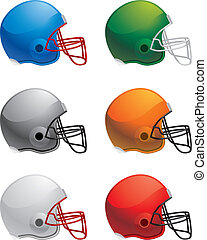 Football Helmets - A variety of different colored football...
