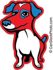 Jack Russell Terrier - A red and blue cartoon Jack Russell...