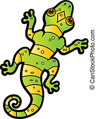 Cartoon Lizard - A cartoon green and yellow striped lizard.