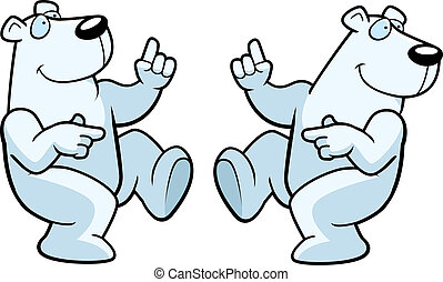 Polar Bear Dancing - A happy cartoon polar bear dancing and...