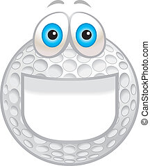 Golf Ball Smiling - A cartoon white golf ball smiling and...