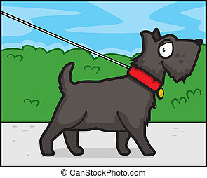 Dog Walking - A happy cartoon dog walking and smiling.