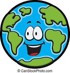 Earth Smiling - A cartoon planet Earth smiling and happy
