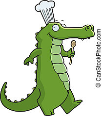 Alligator Chef - A happy cartoon alligator chef walking and...