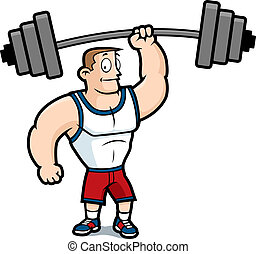 Lifting Weights - A cartoon strong man lifting a heavy...