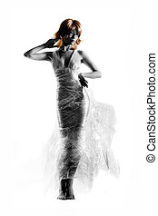 Disposable fashion - Model in cling wrap dress on white...