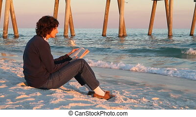 Reading At Beach