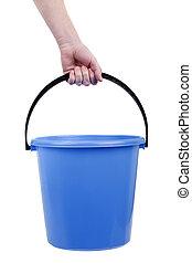 plástico, balde, mão