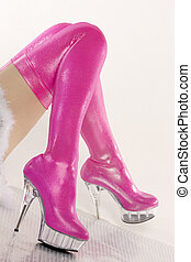 extravagant pink boots