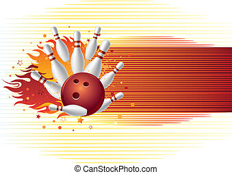 bowling with flames - bowling sport element with flames