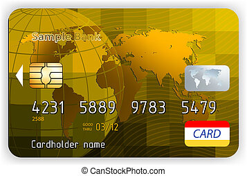 Vector gold credit cards, front view. EPS 8 vector file...