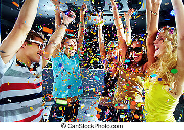 Party delight - Photo of excited teenagers raising their...