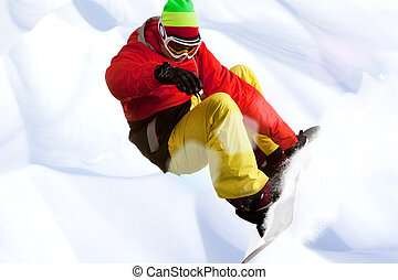Hobby - Image of snowboarder skating down mountain side