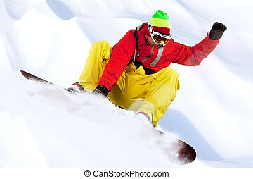 Leisure - Image of snowboarder with holding his board during...