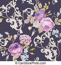 Violet Roses Barocco Flowers Background Violet. Seamless...