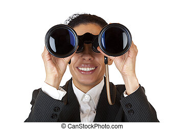 Woman looks through binoculars and found business. Isolated...