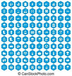 100 garden stuff icons set blue - 100 garden stuff icons set...