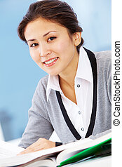 Pretty employee - Portrait of smiling businesswoman looking...
