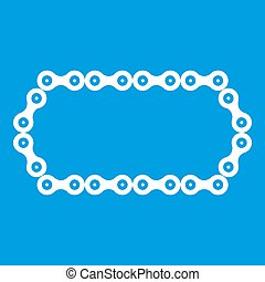 Bicycle chain icon white isolated on blue background...